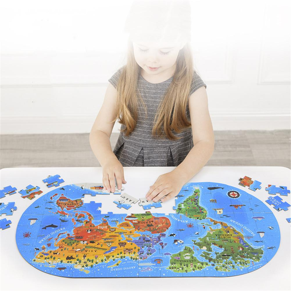 100 PCS  World Map Children's Puzzle iron box easy store educational jigsaw geography learning