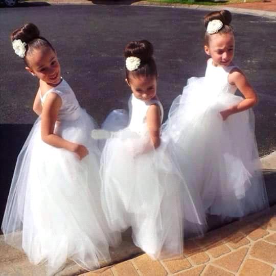 Kids White Ivory Tulle Tutu Beauty Backless   Flower     Girl     Dresses   2017 Junior Bridesmaid   Dress   Baby   Girls   First Communion   Dresses