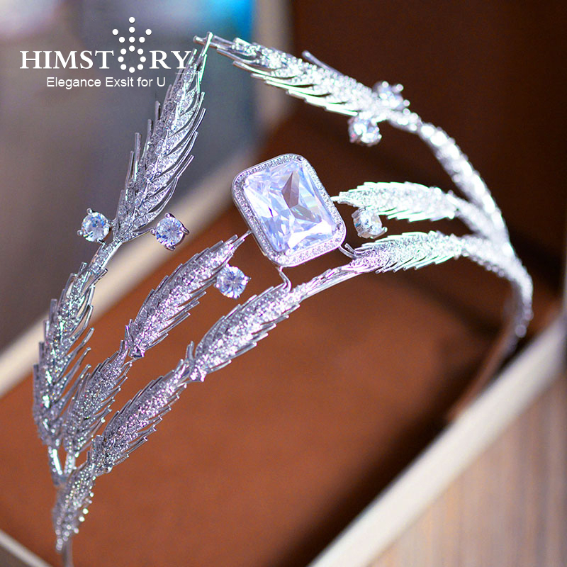 HIMSTORY New Brides AAA Cubic Zirconia Large Wheat Designs Crown Tiara Square Cubic Zircon Hairbands Evening Hair Accessories