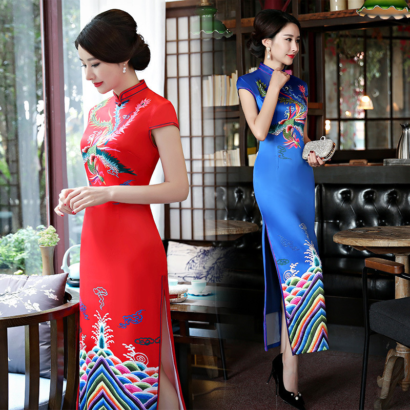 Sheng Coco 4XL Plus Size Red Chinese Dresses Female Qipao Long Cheongsam China Vintage Dress Satin Phoenix Pattern Sexy Clothes