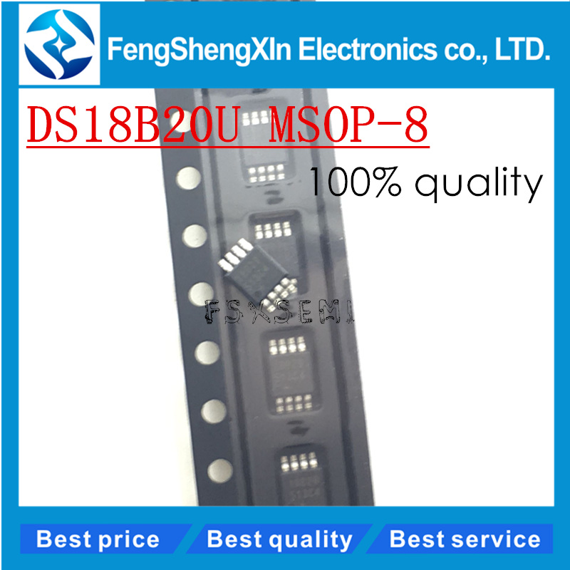 10pcs/lot New DS18B20U <font><b>DS18B20</b></font> 18B20 MSOP-8 Programmable Resolution 1-Wire Digital Thermometer IC image