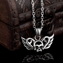 GOMAYA Skull Wings Stainless Steel Gothic Pendant Necklace Cool Vintage Rock Casual Jewelry for Women and Men Collier