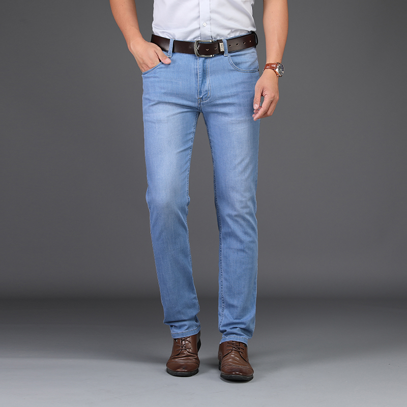 Sulee Brand Men Spring Summer  Jeans Denim Mens Jeans Slim Fit Plus Size To 40  Big And Tall Men Pants Thin Dress  Jeans