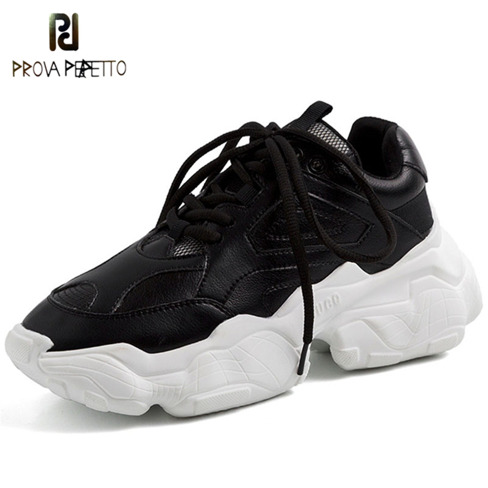 Prova Perfetto 2019 Celebrity Sneakers Women Trendy Chunky Dad Shoes Woman Buty Damskie Thick Sole Ladies