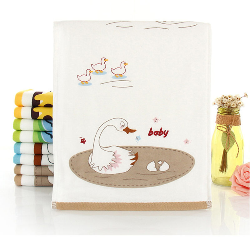 New Cute Cartoon swan Wipe For Children Long soft face towels Kids Washcloth Double Layer Face Towels Baby Cotton Hand Towel