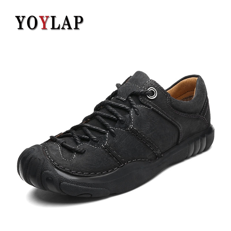 2018 Sping Luxury 100% Genuine Leather Mens Shoes Casual Lace Up Men Shoes Leather Moccasins Black Brown Men Loafers Top Quality