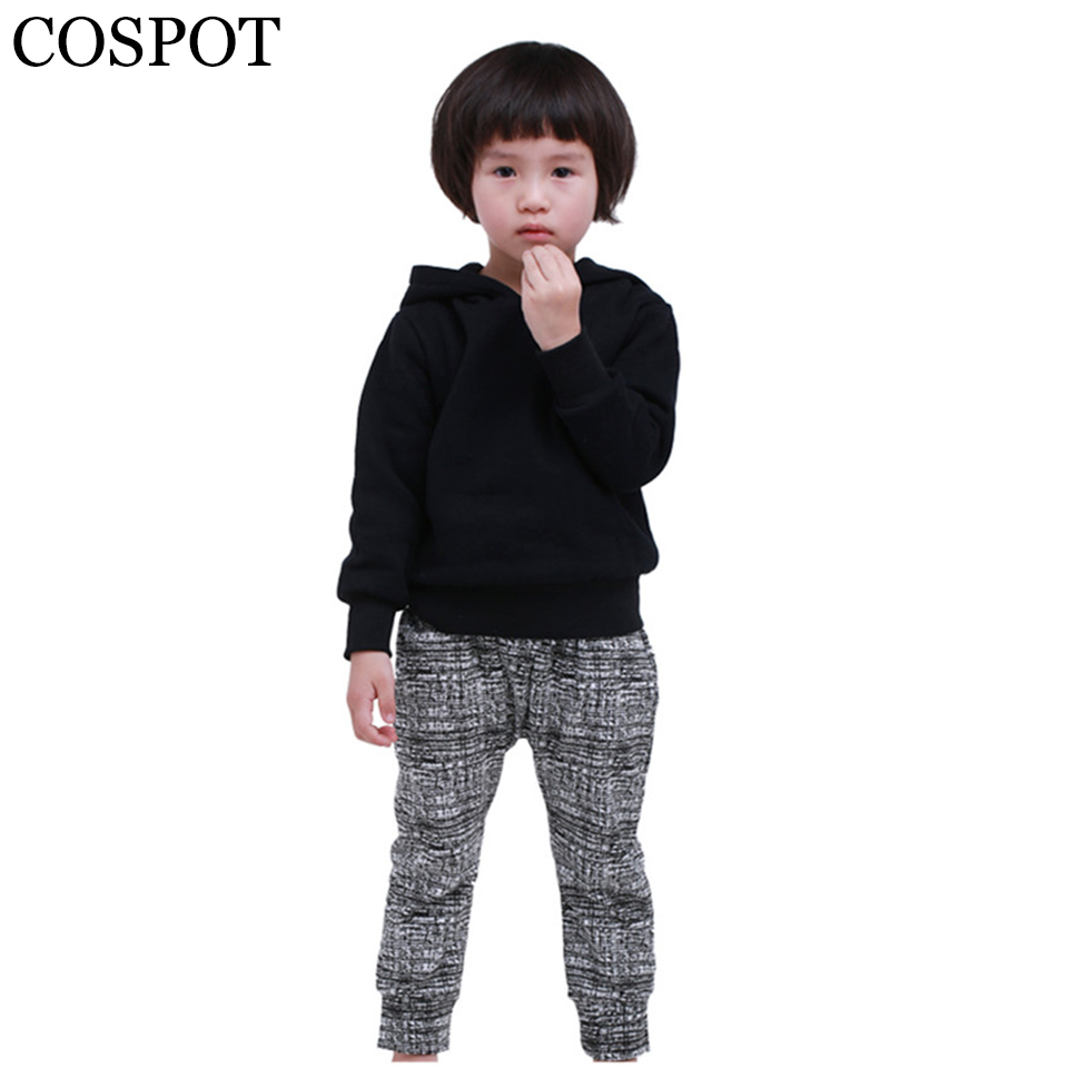 COSPOT Baby Boys Girls Hoodies Boy Girl Plain Black Sweatshirt Kids Autumn Spring Coat Children Fashion Tops Jacket 2017 New 30F