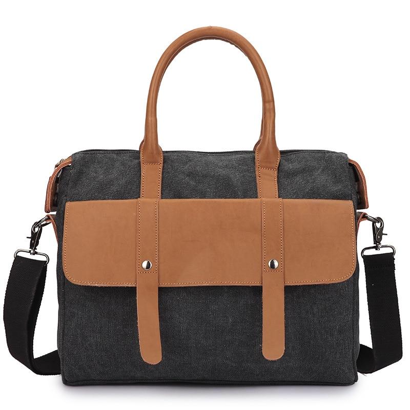 Super Fibre Leather Water Washed Canvas Bag Fashion Vintage Handbags Men Laptop Shoulder Bag Leisure Business Computer Handbag vans кеды washed canvas court