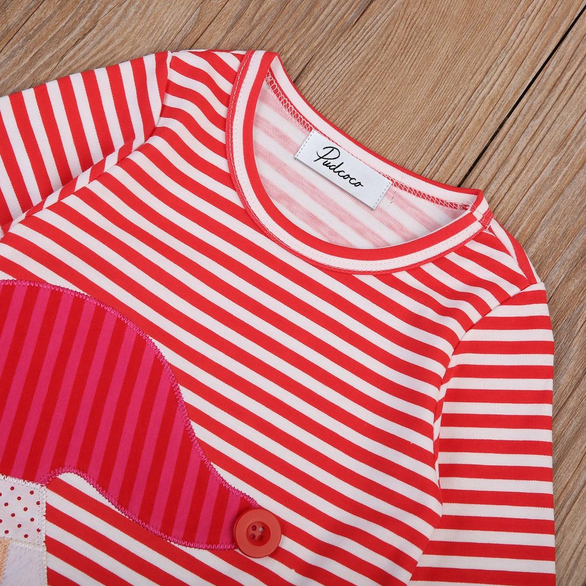 2017 Kids Toddler Baby Girls Christmas Nightdress Santa Claus Striped Long Sleeve Dresses Cute Cotton Loose Dress Clothing 1-7