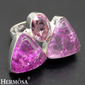 HERMOSA jewelry Natural Purple Snakeskin Quartz Pink crystal 925 sterling silver unique charm Ring Size 7.5 HF682