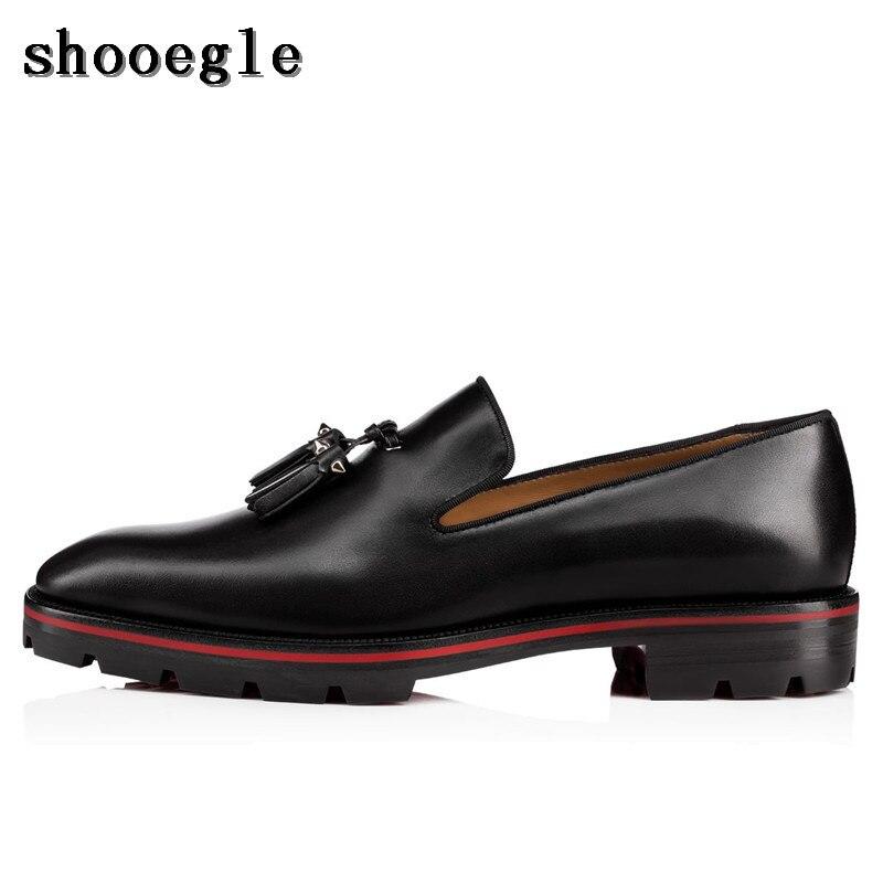 Здесь продается  SHOOEGLE Top Quality Handmade Men Shoes Chaussure Homme Luxury Mens Tassel Loafers Black Leather Men Derby Dress Shoes  Обувь
