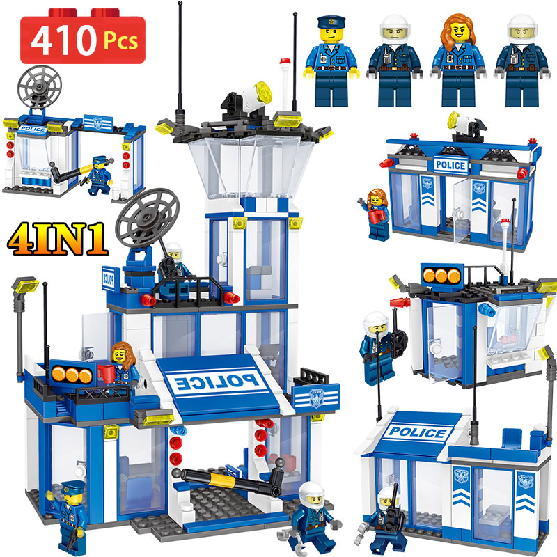 410PCS Police Station Building Blocks Compatible LegoINGLY City Street view Series Diy Bricks Enlightening Fun Toys For Children 1397pcs large building blocks sets city police station anti terrorism action compatible legoingly city police toys for children