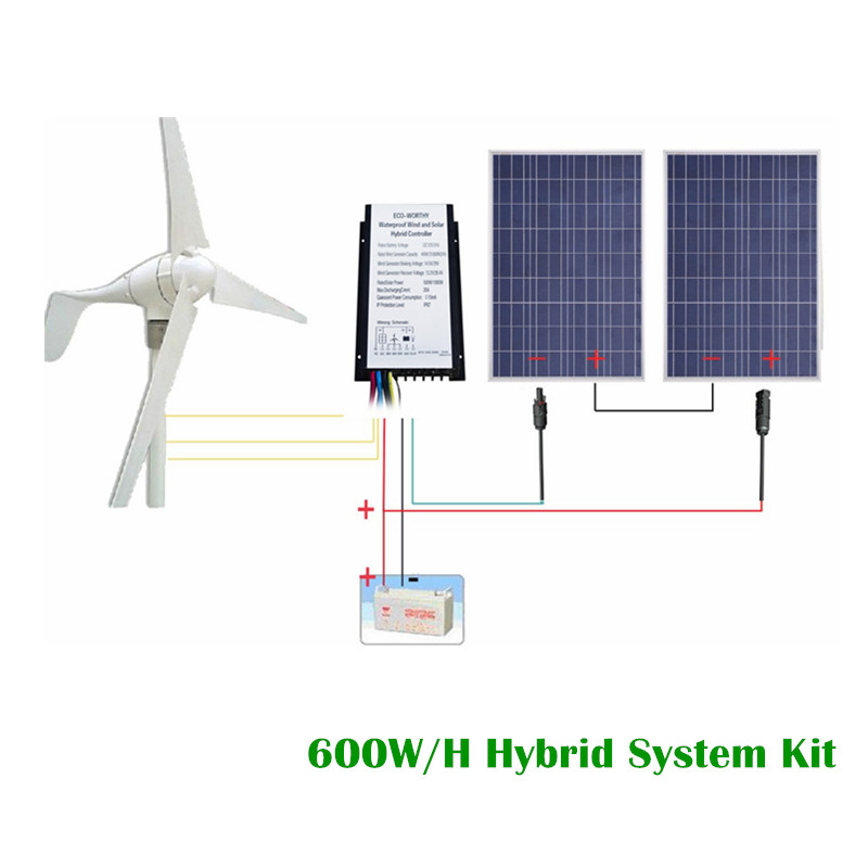 USA Stock 24V 600W/H Hybrid System Kit:400W Wind Turbine Generator & 200W PV Solar Panel
