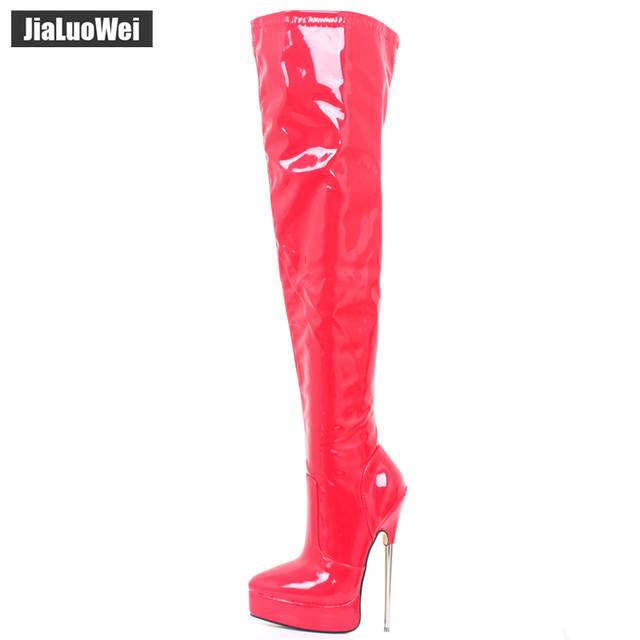 Großhandel Roter Fetisch 20cm Hochhackige Overknee Stiefel