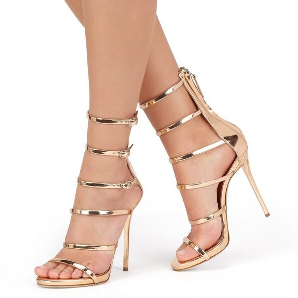 Gold Metallic Strappy Sandals Cut-out High Heels Metal Decoration Summer Sandals Woman Back Zipper Cage Shoes Gladiator Boots