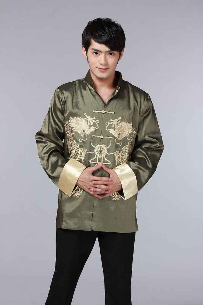 Китайская традиционная одежда с принтом Феникса костюм дракона Тан мужская вышитая Праздничная Свадебная куртка с длинными рукавами