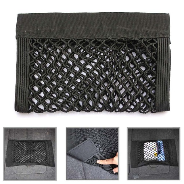1Pc Car Back Rear Trunk Seat Elastic String Net Mesh Storage Bag Pocket Cage Stowing Tidying Car Styling