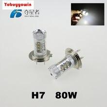 Super potência par lâmpadas cree chip 80w led h7 led 6500k 16 leds efeito turbo carro preto luz farol lampada