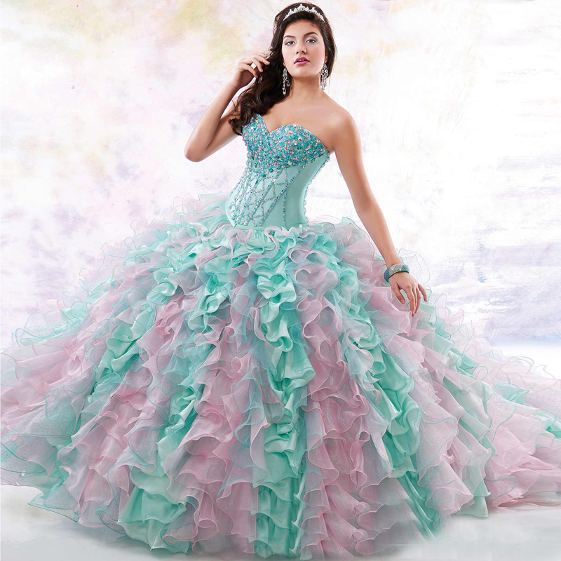 Luxurious Green And Pink Crystal Custom Made Beautiful Quinceanera ...