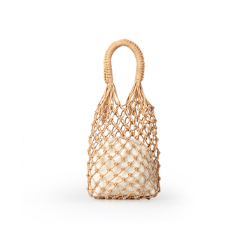 INS Chic Summer Beach Bags Cotton Hollow Out Basket Composite Bag Leisure Straw Bag for Girls Women Handbags Mesh Rope Net Bags