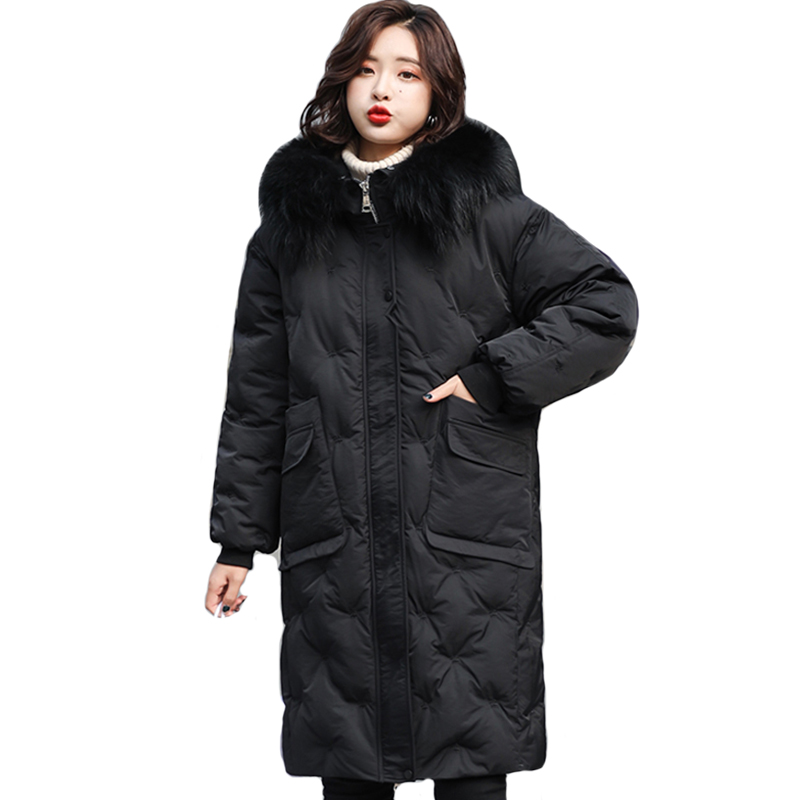 2019 New Arrival Winter Jacket Women Oversized With Fur Collar Female   Down     Coat   Warm Thicken Womens Long Jackets