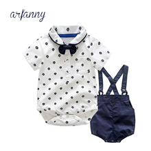 Summer Baby Boy Toddler Clothes Suit Formal Gentleman Tops+Pants Outfit Set 0-2Y Hot baby Boys Clothing Kid lattice sets цена