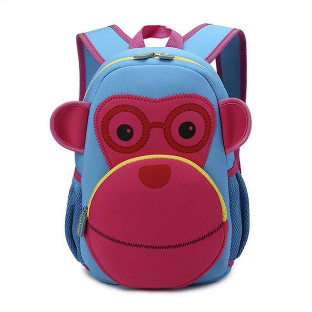 db3c600f9353b أكياس حقيبة المدرسة رياض الأطفال طفلة للفتيات الأطفال حقيبة الظهر 3d الحيوان  الأخضر الكبير آيد قرد