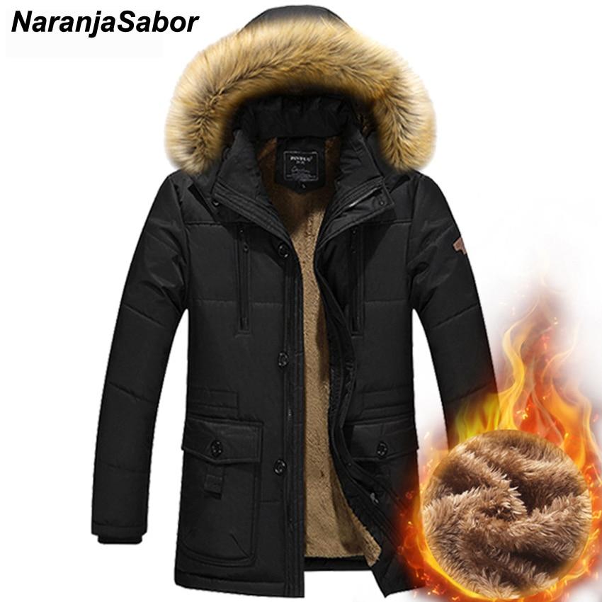 NaranjaSabor 2019 Winter Men's Cotton Jackets Thick Coats Hooded Down   Parka   Long Male Casual   Parkas   Mens Brand Clothing 5XL N420