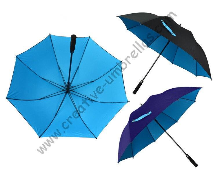 Diameter 130cm golf umbrella visible double layers fabric fiberglass frame,auto open Pongee,anti static,wind resitant,canopy
