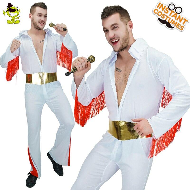 Elvis Presley Bianco Tuta Costume Per Adulti Mens 60-70 Roccia N'Roll Star Costumi di Gioco di Ruolo Del Partito Dei Vestiti di Halloween del Vestito Operato