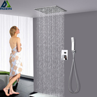Polished Chrome Shower Faucet Set Stainless steel 12 Square Rainfall Showerhead Ceiling Mounted Bathroom Shower Mixer Tap
