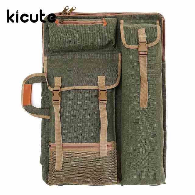 Kicute 48 X 64cm Green Art Artist 4k Canvas Drawing Board Bag Portfolios Dual Use Case