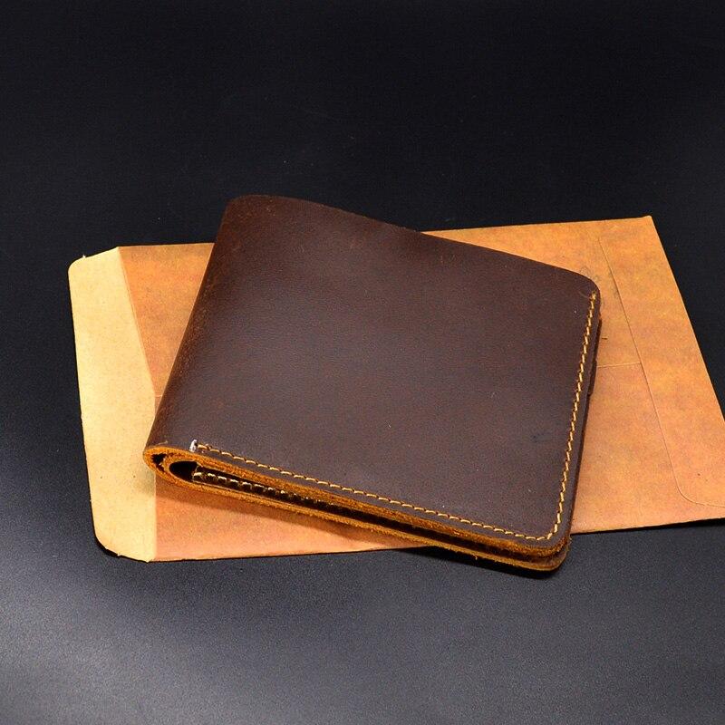 Echtes Leder Männer Geldbörsen Kleine Handtasche Vintage Luxus Handgefertigte Brieftasche Männlichen Top Crazy Horse Leder Geld Fall Portomonee