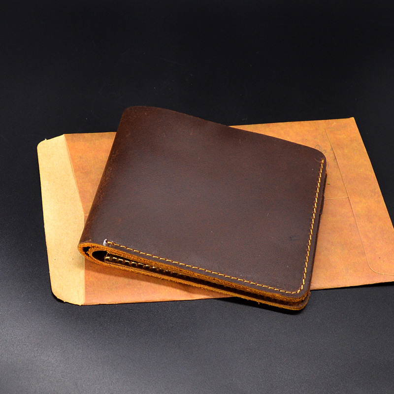 Genuine Leather Men Wallets Small Purse Vintage Luxury Handm