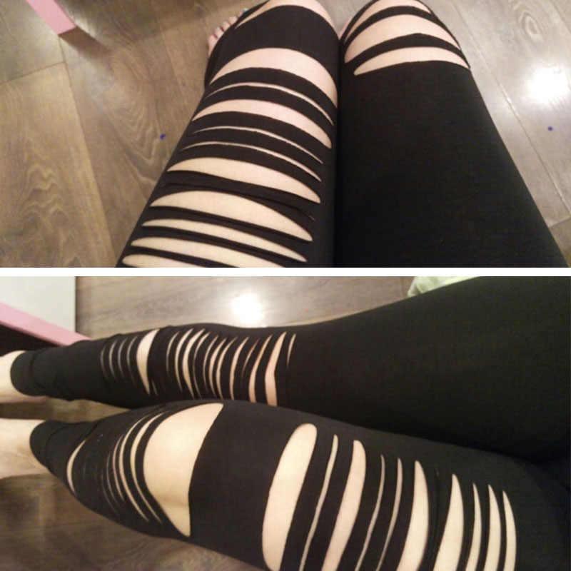 fca091550fe243 ... ADEWEL Basic Strech Black Leggings Holes Ripped Leggings Punk Rock  Fashion Women Leggins Casual Jeggings Dancing ...