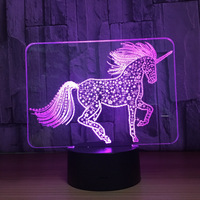 Lovely Horse 3D LED Night Light USB 7 Color Dimming Illusion Bedroom Lamp Holiday Light Child