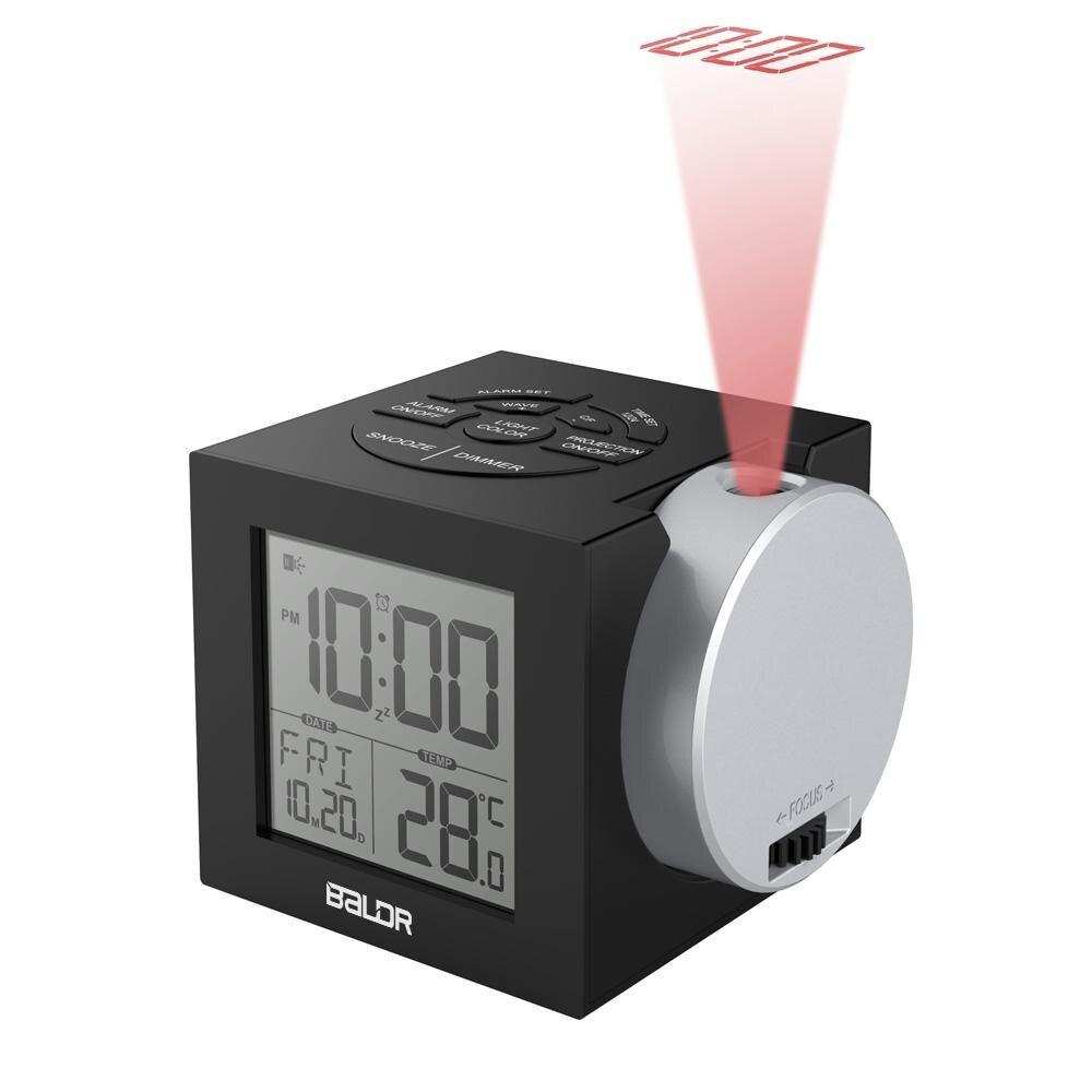 Baldr LCD Alarme De Projection Horloge Rétro-Éclairage Électronique Numérique Projecteur Montre bureau affichage de La Température avec 7 Couleur