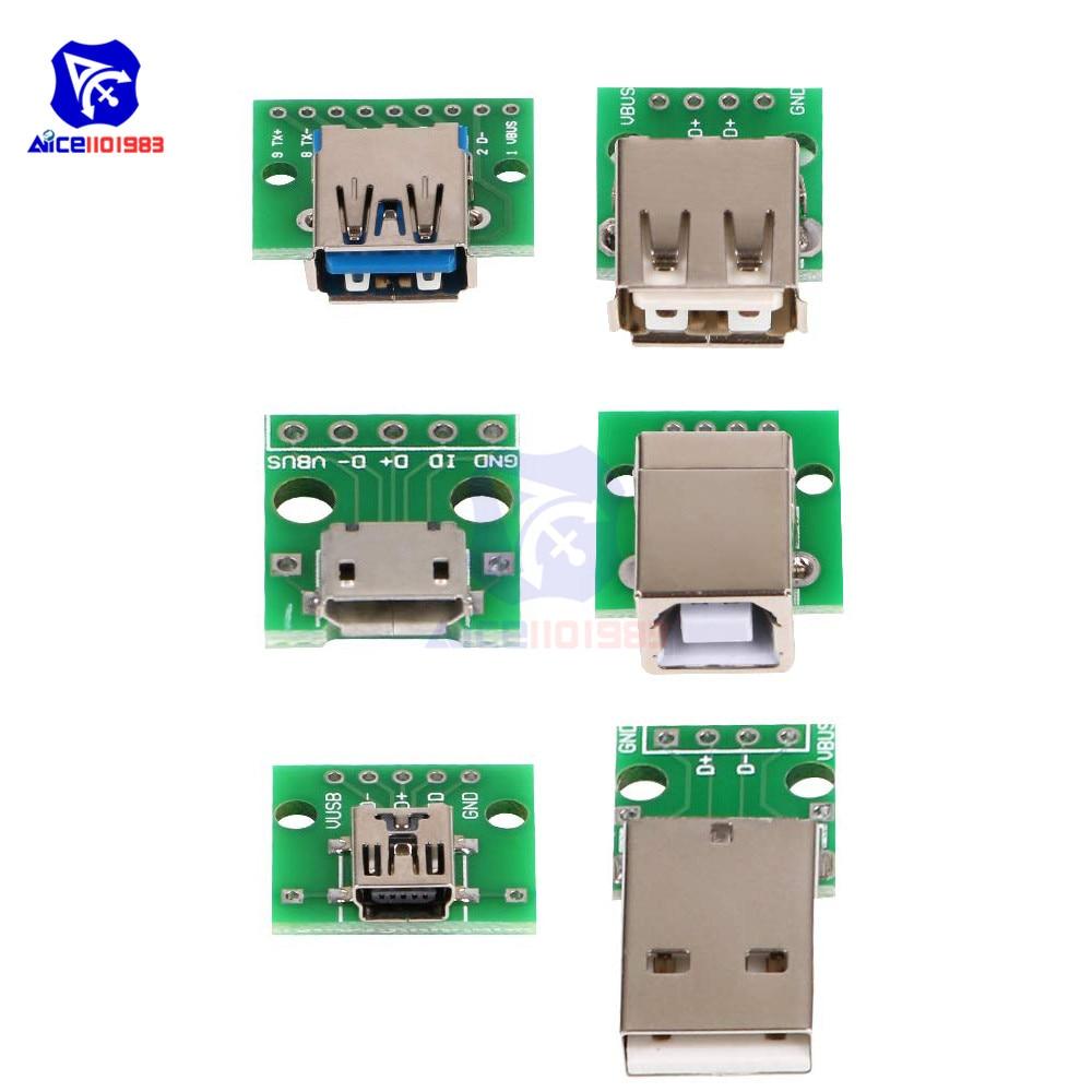 Micro/Mini USB/USB A Male/USB 2.0/3.0 A Female/USB B Interface To 2.54mm DIP PCB Converter Adapter Breakout Board