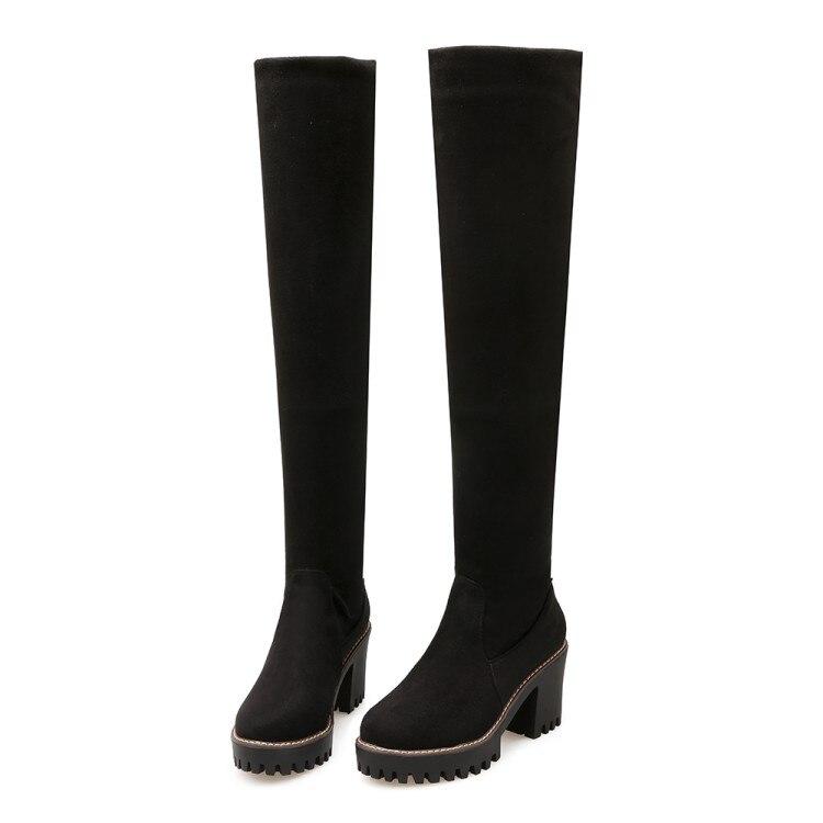 ФОТО 2017 Winter New High Heel Boots Leisure Elegant  Heels Sexy Women Shoes Boots Round Toe Thin Heel Leather Boots12958