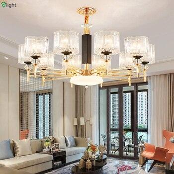 Modern Gold Metal Led Chandelier Lighting Living Room Glass Led Pendant Chandeliers Lights Dining Room Led Hanging Lamp Fixtures