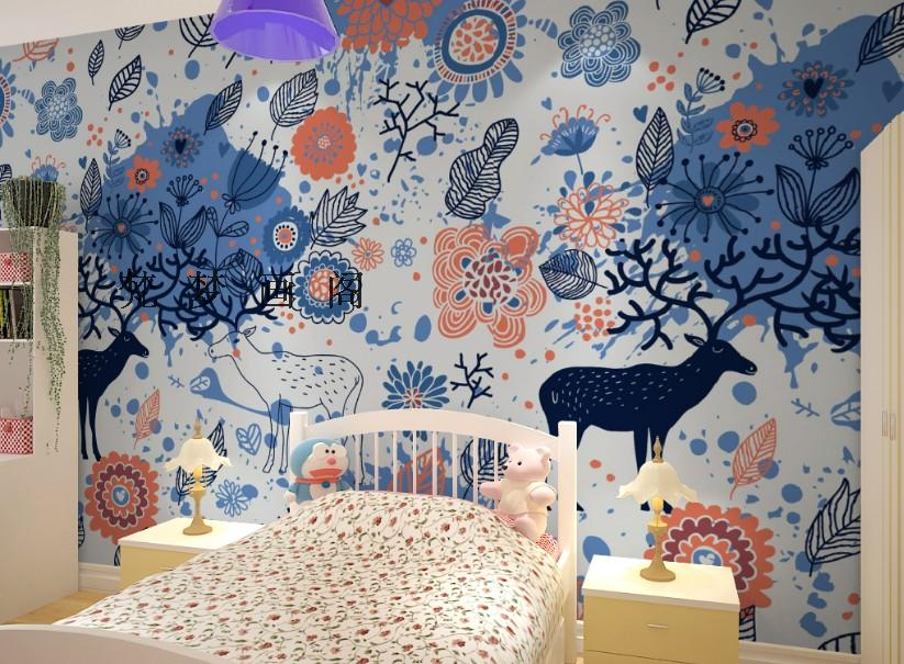 ФОТО Free Shipping children room bedroom wallpaper non-woven wallpaper blue fawn painting background sofa wallpaper mural