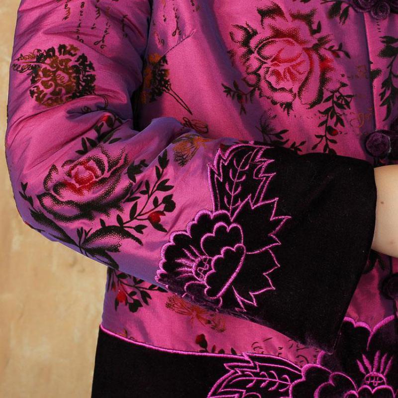 Longues Coton Vert Style Manches Hamdmade M Bouton Rembourré Outwear Amélioration Hiver 4xl Imprimé Femmes Chaud Chinois Traditionnel pourpre Veste vqz7T8n8