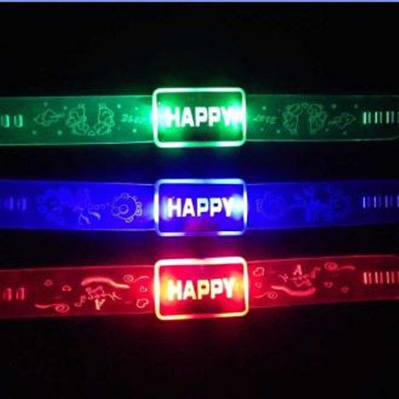 10pcs / lot Barvna lepota Happy Words Fluorescence Stick LED Božični dodatki Svetleča zapestnica