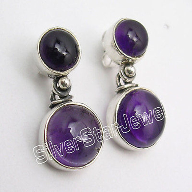Silver Natural CABOCHON AMETHYST 2 STONE Lovely Studs Earrings 7/8 inches