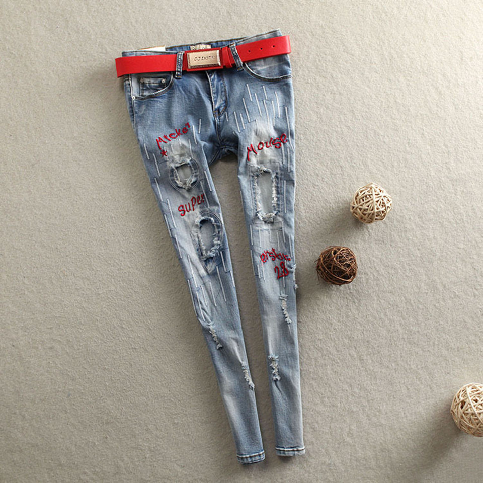 Women Trousers Nine Pants Casual Plus Size Jeans Women Ripped Letters Embroidery Patchwork Elastic Skinny Jeans
