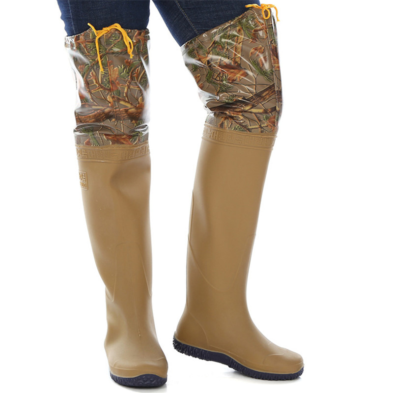 60cm Height Camouflage Fishing Waders PVC Waterproof Soft Sole Shoes Wader for Fishing Unisex Multipurpose Fishing Waders Boots