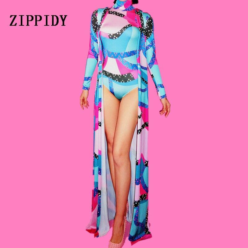 Kadın Giyim'ten Fant. Tulumlar'de Kadın Moda Rhinestones Bodysuit Uzun Ceket Renkli Kıyafet Kadın Şarkıcı Gece Kulübü Kristaller Kostüm Dans Tulum'da  Grup 1