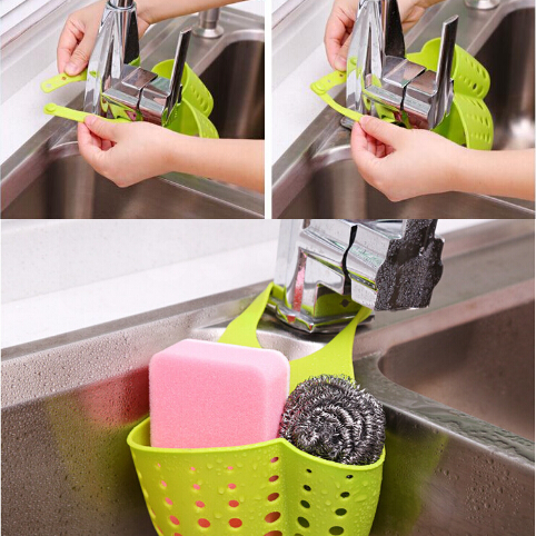 Creative Kitchen Bathroom Sink Suction Sponge Hanging Shelving Rack Dish Cloths Bags Drain Faucet Storage Baskets Cleaning Toolc