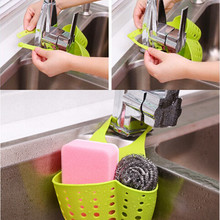 Creative Kitchen Bathroom Sink Suction Sponge Hanging Shelving Rack Dish Cloths Bags Drain Faucet Storage Baskets Cleaning Toolc(China)