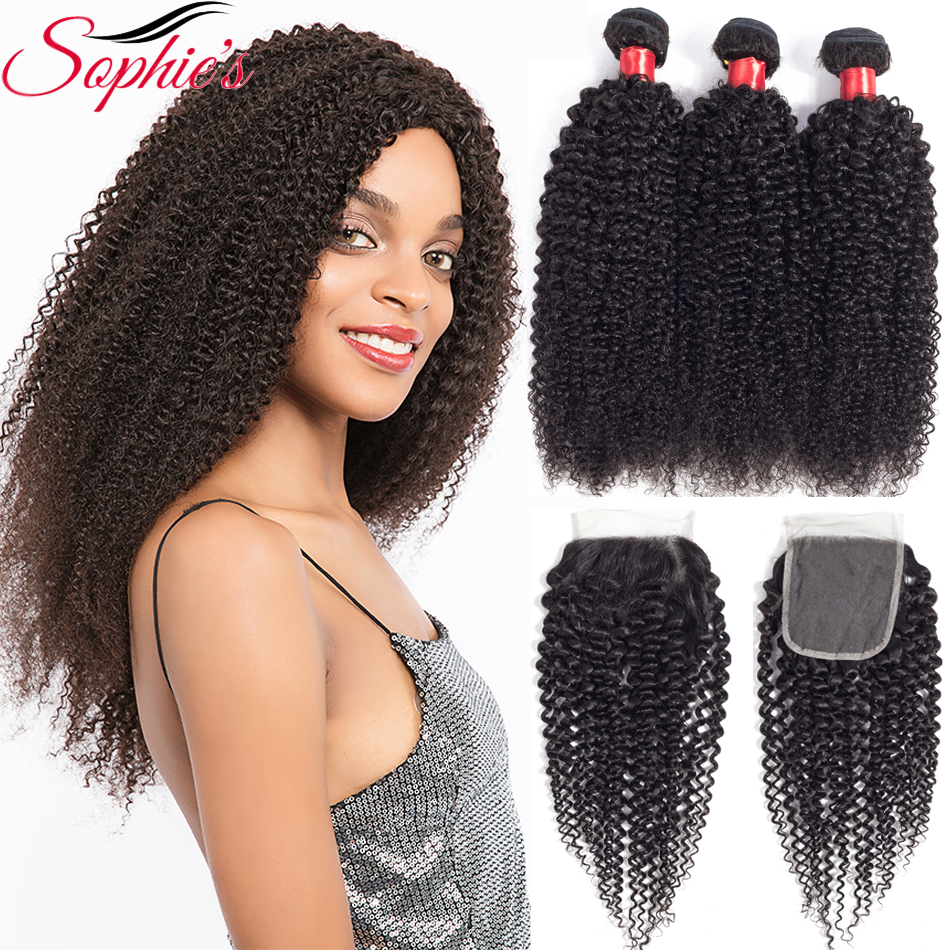 Sophies Peruvian Hair Bundles With Closure Curly Hair 3 Bundles With Closure 100 Remy Human Hair